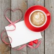Stock Photo: Valentines card and coffee cup