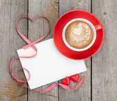 Valentines card and coffee cup — Stock Photo