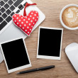 Valentine's day blank photo frames and toy heart — Stock Photo