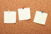 Blank postit notes on cork notice board — Foto Stock