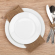 Empty plate and silverware set — Stock Photo