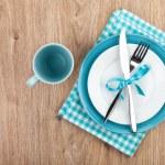Kitchen utensils over wooden table — Stock Photo
