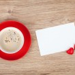 Blank valentines greeting card and red coffee cup — Stock Photo