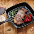 Sirloin steak with rosemary and cherry tomatoes — Stock Photo #40978677