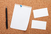 Blank notepad paper, business cards and pen — Stock Photo