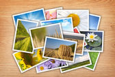 Stack of printed pictures collage — Stock Photo