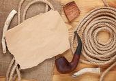 Kopyalama alanı ve tütün boru için kağıt parçası — Stok fotoğraf