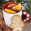 Christmas mulled wine with fir tree, gingerbread and spices — Stock Photo