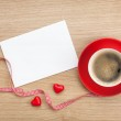 Blank valentines greeting card and red coffee cup — Stock Photo #42043391