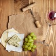 Red wine, cheese and grape — Stock Photo