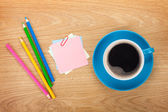 Blank post-it with office supplies and coffee — Stock Photo