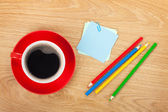 Blank post-it with office supplies and coffee cup — Stock Photo