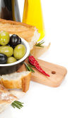 Italian food appetizer of olives, bread and spices — Stock Photo