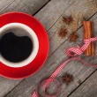 Red coffee cup and spices — Stock Photo #43979767