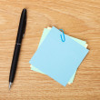 Blank post-it with pen — Stock Photo #44567331