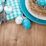 Easter eggs nest on plate — Stock Photo #44567397