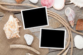 Blank photo frames with ship rope — Stock Photo