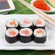 Sushi set, chopsticks, red caviar and soy sauce — Stok fotoğraf #46534943