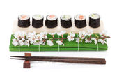 Sushi maki set with salmon and cucumber and sakura branch — Stockfoto