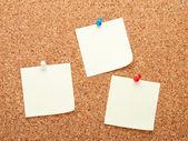 Blank postit notes on cork notice board — Stock Photo