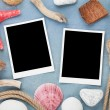Travel photo frames on blue wooden texture — Stock Photo #47312023