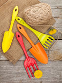 Garden tools with flower — Stockfoto