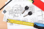 Porta chaves, projetos de construção e ferramentas — Foto Stock