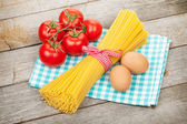 Pasta, tomatoes and eggs — Photo