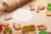 Rolling pin and gingerbread cookies — Stock Photo