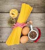 Pasta, eggs and spices — Stock Photo