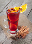 Christmas mulled wine with spices — Stock Photo