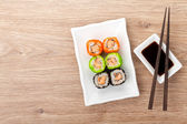 Colorful sushi maki with tobiko — Stock Photo