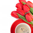 Fresh red tulips with coffee cup — Stock Photo