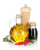 Olive oil and vinegar with spices — Stock Photo