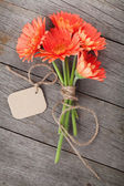 Gerbera flowers with tag — Stockfoto