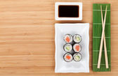 Sushi, chopsticks and soy sauce — Photo