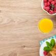 Healty breakfast with muesli, berries, orange juice, coffee and  — Stock Photo #50287187