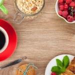 Healty breakfast with muesli, berries, orange juice, coffee and — Stock Photo #50287207