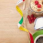 Healty breakfast with muesli, berries, orange juice, coffee and  — Stock Photo #50287219