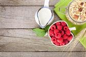 Healty breakfast with muesli, berries and milk — Stock Photo