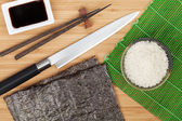Japanese food ingredients and utensils — Stock Photo