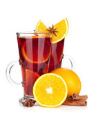 Christmas mulled wine with orange and spices — Stock Photo
