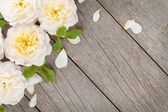 Wooden background with fresh rose flowers — Stock Photo