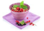 Healty breakfast with muesli and berries — Stock Photo