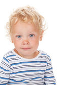 White curly hair and blue eyes baby — Stock Photo