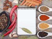 Färgglada val av örter och kryddor — Stockfoto