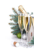 Champagne and blue fir tree — Stock Photo