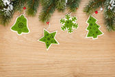 Christmas fir tree and decor — Stock Photo