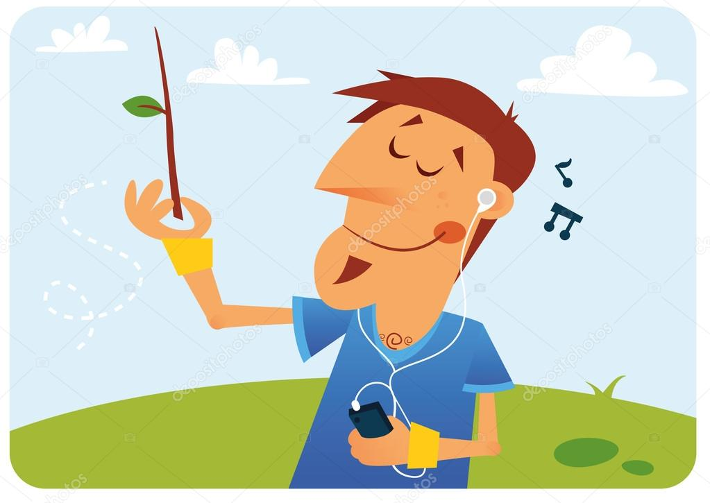 A young man imagines himself a conductor, listening to music on the phone outdoors — Stock Vector #12226833