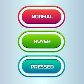 Vector set of three states of web button — Stockvector